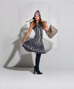 Nic + Zoe knit dress $228, Stuart Weitzman suede boots $798, and Francis Valentine leather bag $650