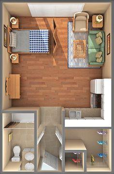 Senior Living Apartments at Scotia Village Studio Apartment Floor Plans, Studio Apartment Layout, Small Apartment Interior, Small Studio Apartments, Studio Apartment Decorating, Small Floor Plans, Small House Plans, House Floor Plans, Small Room Design