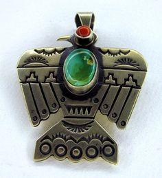 Albert Jake Sterling Silver Pin / Pendant.   #nativeamericanjewelry    #turquoisejewelry http://www.leotasindianart.com/