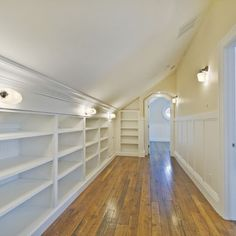 Sloped Attic Ceiling Shelving Ideas Design, sending this to my handyman right now!