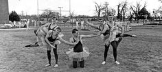 "Ten Benson athletes performed the ballet spoof ""Dying Swan"" at the International Fair at Benson High School in March 1968. The fair was sponsored by the American Field Service Club to raise money for exchange students. Posing in front of track practice are, from left, Joe Nebbia, Tom Steppat, Steve Bross, Tom Antisdale and Tom O'Brien. THE WORLD-HERALD"