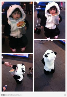Baby panda outfit, so awesome!! i need somebody to have a baby so i can can get them this!