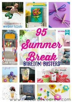 Summer Break Boredom Busters, Summer Crafts, and more! Add all these fun activities to your summer bucket list. keep kids occupied, off their electronics, and using their imagination with this roundup of ideas! Summer Activities For Kids, Games For Kids, Diy For Kids, Fun Activities, Crafts For Kids, Summer Games, Kids Fun, Fun Games, School's Out For Summer