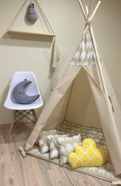 Kids nursery teepee cotton house. Wood kids bed house. Children bed house .Play…