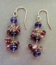 Gemstone earrings, long dangle earrings, multi stone cluster earrings, pink and purple earrings purple and red earrings amethyst earrings