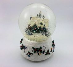 Vintage Musical Christmas Snow Globe, Plays Silent Night, Decorated House Tree Lights Holly Berry, Collectible Figurine, Winter Home Decor