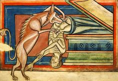 «Hyena (Yena) devouring a human corpse, which it pulls from a tomb.» Bestiary, c. 2nd quarter of the 13th century, Harley 4751 , f. 10, The British Library. https://ello.co/marginaliams/post/qibe23x5y4r4etnqzj6uhg