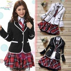 Japanese, Anime Costume, Japan School Girl Uniform Costume Tartan Dress Surcoat, #New #jacketblouseskirtandtie