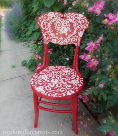 Red Toile Chair | Red Toile Rose Chair Furniture Hand-painted Upcycled Art | How To
