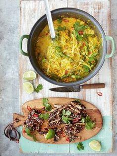 Jamies Rezept für eine asiatische Thai-Hähnchen-Laksa; eine göttliche Suppe für die kälteren Tage