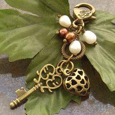 Purse charm bag charm Key heart pearl by BlueForestJewellery, $20.00