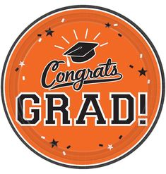 ​​Choose Orange School Colors Pride Dessert Plates when it's time to celebrate your new graduate. These round paper plates read Congrats Grad.