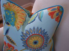 CUSTOM PIPING COLORS Outdoor Modern Floral Aqua Pillow with