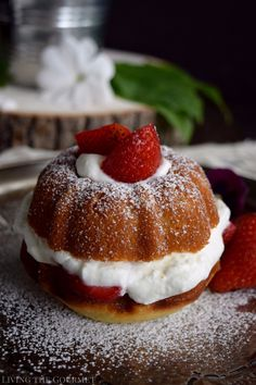 Strawberries and Cream Naked Bundt. Strawberries and Cream Naked Bundt Cakes Baking Recipes, Cake Recipes, Dessert Recipes, Bunt Cakes, Cupcake Cakes, Mini Desserts, Just Desserts, Plated Desserts, Nothing Bundt Cakes