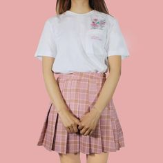 Valentine's Day SALE - PINK KAWAII PLAID SKIRT – kokopiecoco