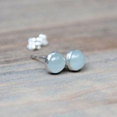 Aquamarine Sterling Silver Stud Earrings 6mm