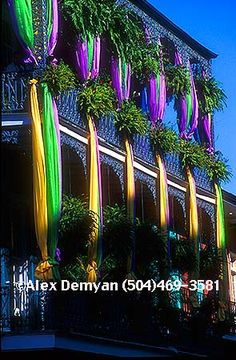 French Quarter balconies decorated for mardi gras | ... title mardi gras balcony description wrought iron balcony with mardi