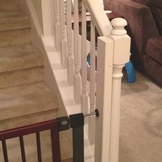 This is genius! i wonder if it will work on a spiral staircase though? How to attach a regular baby gate to the bottom of stairs with a banister. Cut a to fit the banister, paint to match, and attach with zip ties. Baby gate stays snuggly in place! Banister Baby Gate, Baby Gate For Stairs, Stair Gate, Stair Spindles, Banisters, Pet Gate, Dog Gates, Best Baby Gates, Moving New House