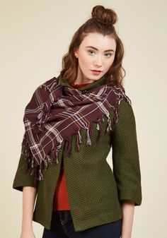 Plaid News Travels Fast Scarf in Merlot. Going somewhere? #red #modcloth
