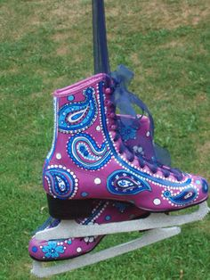 Custom Hand Painted Ice Skates. $99.99, I think i like mine better though.  They are a bit less... colorful