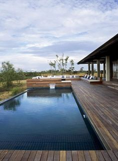 Lap pool w/ wood deck