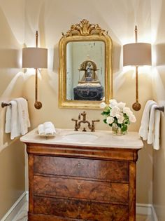 Repurposed antique chest converted to bath vanity sink beautifully transformed as bath vanities with single or double sinks--- adding much more charm & value than standard stock or custom cabinets for less. Want to do this in half bath. Bathroom Inspiration, Interior Inspiration, Interior Ideas, Cabinets For Less, Antique Chest, Antique Vanity, Antique Interior, Bath Design, Design Bathroom