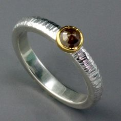 Sarah Hood: , Rose cut diamond ring in sterling silver and 22k gold. Band is 3mm in width. Size 6.25 (may be sized to fit)