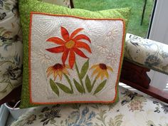 Raw edge appliqué cushion