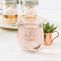 WINE TASTING Serve rose or signature cocktails in stemless glassware featuring your monogram, home state or favorite quote.