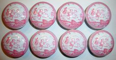 Handmade Pastel Pink Girls Toile Dresser Drawer Knob Pulls - Set of 8. $21.99, via Etsy.