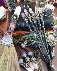 Crystal Wands and Besoms Wiccan Witch, Witchcraft, Magick Book, Raven Skull, Symbol Hand, Wiccan Decor, Wonderful Day, Talisman, Baby Witch