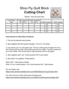 shoo fly cutting chart - four different sizes