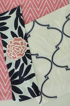 caitlin wilson design fabrics - navy and pink ( Fleur Chinoise I collection) pretty for a girls bedroom
