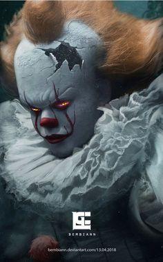 I love Bembianns Pennywise art, so beautiful! Le Clown, Creepy Clown, Horror Movie Characters, Horror Films, Arte Horror, Horror Art, Bill Skarsgard Pennywise, Pennywise The Dancing Clown, Kino Film