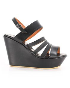 Amy Wedge in Black by Kathryn Wilson Leather Black Sandal Wedge Black Leather Sandals, Black Sandals, Wedge Sandals, Wilson Leather, Amy, Hair Beauty, Wedges, Jewels, Black And White