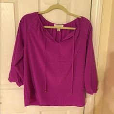 Satin Forever 21 blouse Purple with Gold detail beads Forever 21 Tops Blouses