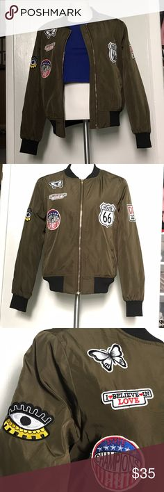 Green Bomber Jacket Olive Green BomberJacket quilted inside                                    includes 6 patches with pockets                                                       BRAND NEW W/out Tags!! casting LA Jackets & Coats Puffers