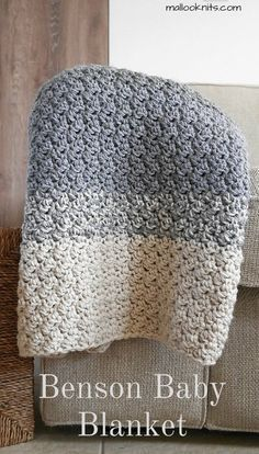 Knitting and Crochet Ideas Blanket Patterns - The Benson crochet baby blanket pattern. Crochet Afghans, Crochet Squares, Crochet Baby Blanket Beginner, Crochet Stitches, Free Crochet, Crochet Blankets, Crochet For Baby, Beginner Crochet, Crochet Cushions