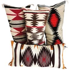 These pillows would make a great addition to any #WesternHome. - 1stdibs | Navajo Indian Weaving Bolster Pillows /Collection of 4