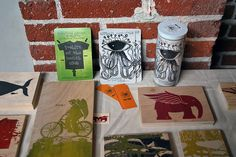 screen print on wood. That'd be cool. The kids could take home tiny works of art that day