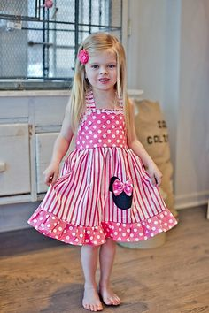 Minnie Mouse Candy Dress Hot Pink stripes And Polka Dot Halter Dress 12M To 6Y#ahaishopping