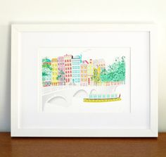 Amsterdam Across the canal - European A4 cityscape Print $13.75