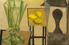 Mikuláš Medek (1926-1974), Zátiší se zelenou sklenicí (Hlava), 1944, karton, olej, 38 x 58 cm