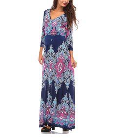 Look at this A La Tzarina Navy & Fuchsia Arabesque Maxi Dress - Plus on #zulily today!