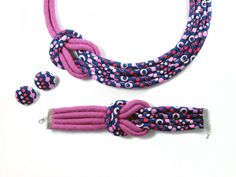 Fabric Knot necklace Pink and Navy print Cotton by LivieRoseDesign