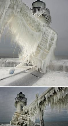 Frozen Lighthouses on Lake Michigan more