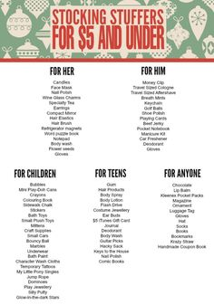 Check out >> Stocking Stuffers for $5 and Underneath - Frugal Mother Eh!