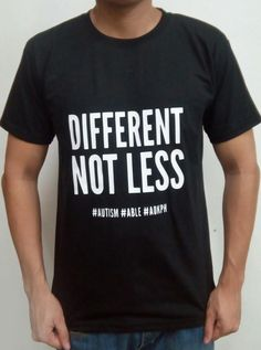 """This cotton shirts bear ASP's """"Hugot"""" lines which celebrate life on the autism spectrum.  Eustacia Cutler, Temple Grandin's mom, was a pioneering advocate who taught her daughter what autism truly is.    Order this item at: https://autismall.myshopify.com/collections/t-shirts/products/shirt-different-not-less"""