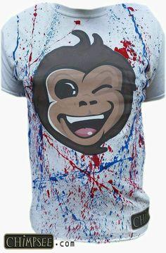 Chimpsee Print Shirt with Splash Design Patriotic Edition