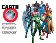 Earth-2Following the deaths of Superman, Batman and Wonder Woman in the War with the Great and Terrible Darkseid, a new generation of superheroes has emerged to continue the fight against immortal evil. This world includes a new BATMAN and SUPERMAN, RED TORNADO, DOCTOR FATE, FLASH, GREEN LANTERN, HAWKGIRL, HUNTRESS and POWER GIRL.